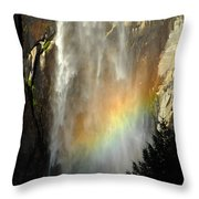 Bridal Veil Rainbow Throw Pillow