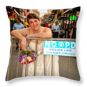 Bride And The Barricade On Bourbon Street Throw Pillow