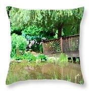 Bridge And Hydrangea Throw Pillow