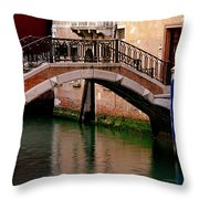 Bridge And Striped Poles Over A Canal In Venice Throw Pillow