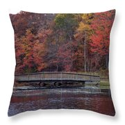 Bridge In Autumn Throw Pillow