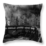 Bridge In Mud Volcano Area Throw Pillow