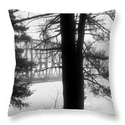 Bridge In The Fog Bw Throw Pillow