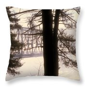 Bridge In The Fog Throw Pillow