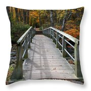 Bridge Into Autumn Throw Pillow