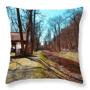 Bridge Number 2 Along The Delaware Canal Throw Pillow