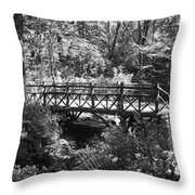 Bridge Of Centralpark In Black And White Throw Pillow