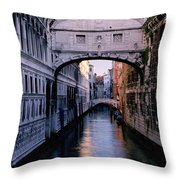 Bridge Of Sighs And Morning Colors In Venice Throw Pillow