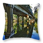 Bridge Over Ovens River Throw Pillow by Kaye Menner