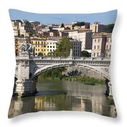 Bridge Ponte Vittorio II. River Tiber.rome Throw Pillow by Bernard Jaubert