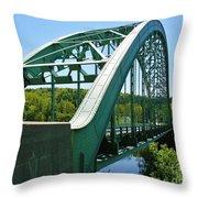 Bridge Spanning Connecticut River Throw Pillow