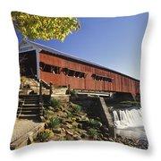 Bridgeton Covered Bridge - Fm000064 Throw Pillow by Daniel Dempster