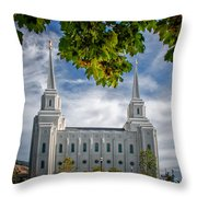 Brigham City Temple Leaves Arch Throw Pillow