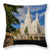 Brigham City Temple Stones Throw Pillow
