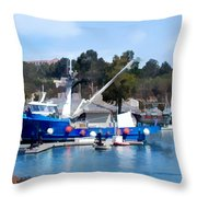 Bright Blue Fishing Ship Throw Pillow