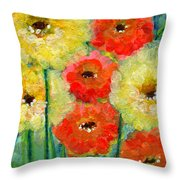 Bright Colored Flowers Shine Throw Pillow