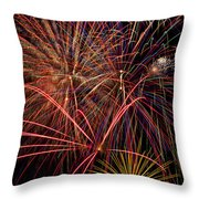 Bright Colorful Fireworks Throw Pillow by Garry Gay