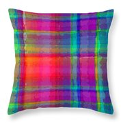 Bright Plaid Throw Pillow by Louisa Knight
