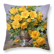 Bright Smile - Roses In A Silver Vase Throw Pillow