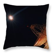 Bright Star And Satellite Dish Throw Pillow