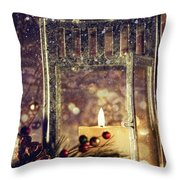 Brightly Lit Lantern In The Snow Throw Pillow by Sandra Cunningham