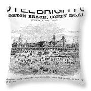 Brighton Beach Hotel, 1880 Throw Pillow