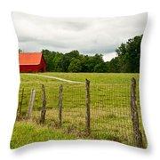 Brillant Red Barn Throw Pillow