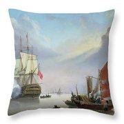 British Man-o'-war Off The Coast Throw Pillow
