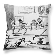 British Officers: Cartoon. English Cartoon Satire, 1777, On The Want Of Training Of British Officers To Prepare Them For The American War Throw Pillow