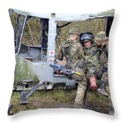 British Soldiers Help A Simulated Throw Pillow