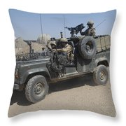 British Soldiers In Their Land Rover Throw Pillow