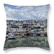 Brixham Harbour - Panorama Throw Pillow