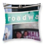 Broadway Street Sign I Throw Pillow