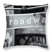 Broadway Street Sign II Throw Pillow