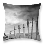 Broken Fence In Dune, South Shields Throw Pillow by John Short
