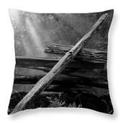 Broken Fence In Morning Light At Yosemite Throw Pillow