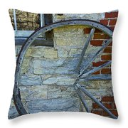 Broken Wagon Wheel Against The Wall Throw Pillow