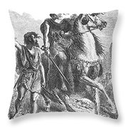 Bronze Age Warrior Throw Pillow by Photo Researchers
