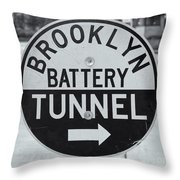 Brooklyn-battery Tunnel Sign I Throw Pillow