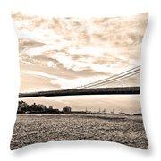 Brooklyn Bridge In Sepia Throw Pillow