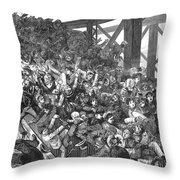 Brooklyn Bridge Panic 1883 Throw Pillow