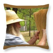 Broom Maker Throw Pillow