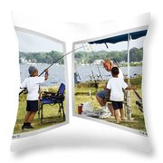 Brothers Fishing - Oof Throw Pillow
