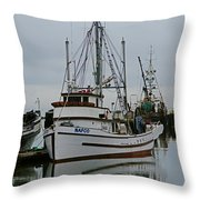 Brown And White Fish Boat Throw Pillow