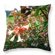 Brown And Yellow Butterfly Throw Pillow