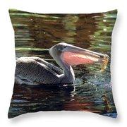 Brown Pelican Afloat Throw Pillow