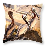 Brown Pelican - Holding Things Together Throw Pillow