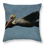 Brown Pelican Painterly Throw Pillow
