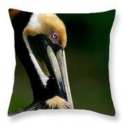 Brown Pelican Profile Throw Pillow