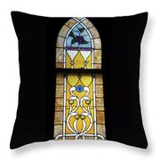 Brown Stained Glass Window Throw Pillow